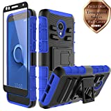 Aoways for Alcatel Avalon V Case, Alcatel IdealXtra 5059R Case, Alcatel 1X Evolve Case, Alcatel TCL LX A502DL Case, Tempered Glass + Kickstand Protective Case for Alcatel 1X Evolve - Blue