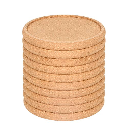 Cork Coasters For Drinks Absorbent Set 10 PCS, 3.9