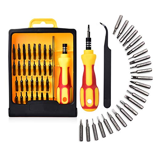 Precision Screwdriver Set, Upgraded Steel, 32 in 1 Opening Tools for Mobile Laptop Glasses Electronics, Star hexagon/ Y-type/ Flat-blade/ Triangle Screwdrivers included, by Lambery