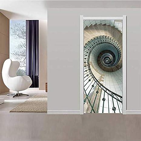 xukep Estilo Surrealista Vista 3D Escaleras de Caracol Murales de Fotos Papel Tapiz Sala de Estar Etiqueta PVC Impermeable para decoración del hogar 77x200cm: Amazon.es: Hogar