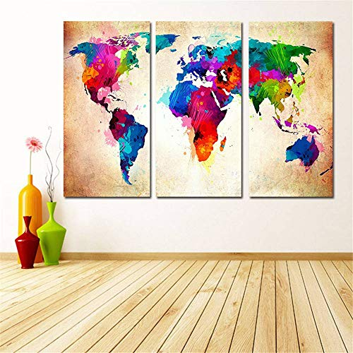 BFY Frameless Huge Wall Art Oil Painting On Canvas Colorful World Map Home Decor by BFY (Image #3)