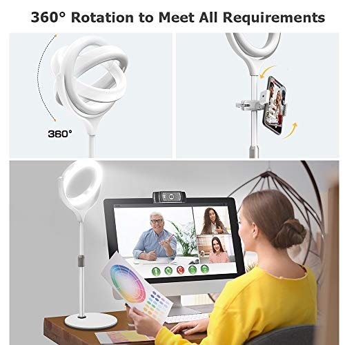 """Evershop Video Conference Lighting, 8"""" Desktop Ring Light with Stand Laptop Computer Zoom Meeting Lighting, Webcam Light 3 Modes&10 Level Dimmable for iPhone/Camera/Photo Lighting/Office Video Calls…"""