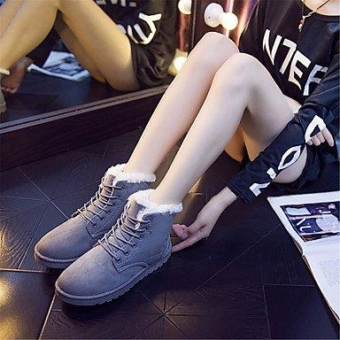 RTRY Zapatos De Mujer Invierno Tejido De Forro De Piel Botas De Nieve Botas Botas De Moda Casual Para Lace-Up Fucsia Negro Marrón Gris Beige US8 / EU39 / UK6 / CN39