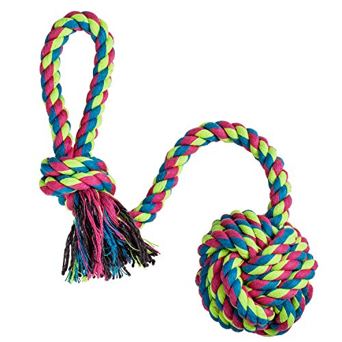 Dog Rope with Tug, Interactive Rope Chew Toys with Cotton Ball for Medium to Large Breeds and Big Puppies (Colors May Vary)