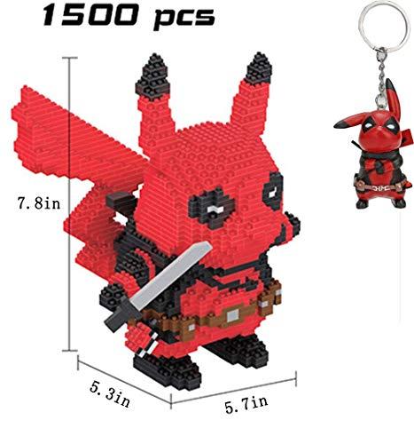 JINGz DIY 3D Pikachu Deadpool Micro Building Block Toy with a Deadpool Keychain