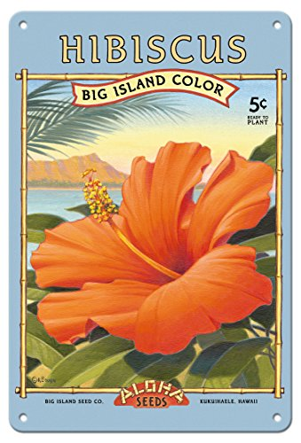 8in x 12in Vintage Tin Sign - Hibiscus - Aloha Seeds - Big Island Seed Company - Big Island Color by Kerne Erickson (Seed Signs Vintage)