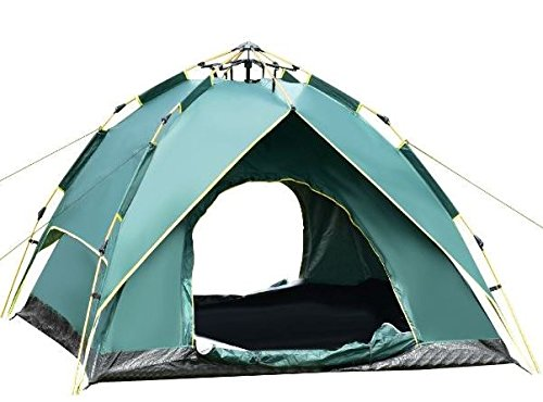K&A Company Waterproof Hydraulic Automatic Camping Tent 80'' x 80'' x 55'' 2-3 Person New Outdoor Green by K&A Company