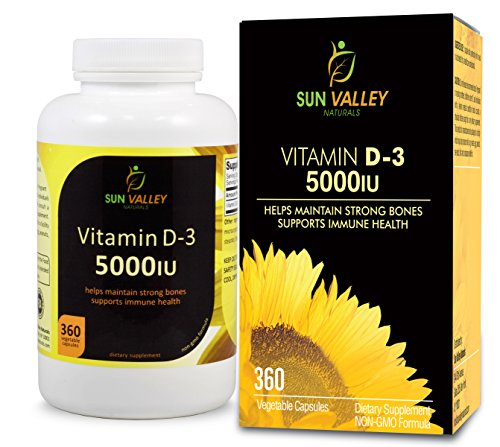 Vitamin D3 5000 IU, By Sun Valley Naturals Vegetarian Capsules 360 Count (1 Year Supply) Non GMO, Helps Maintain Strong Bones And Supports Immune Health.