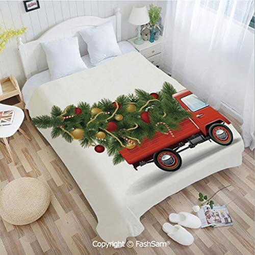 PUTIEN Unique Rectangular Flannel Blanket Red Retro Farm Truck and Big Christmas Tree with Decor Tinsel Balls Candy Lightweight for Adults(59Wx78L)]()