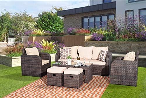 YAKOE 60012 7 plazas ratán Muebles de jardín Juego de sofá Plus reclinable sillas jardín de Invierno al Aire Libre – marrón: Amazon.es: Jardín