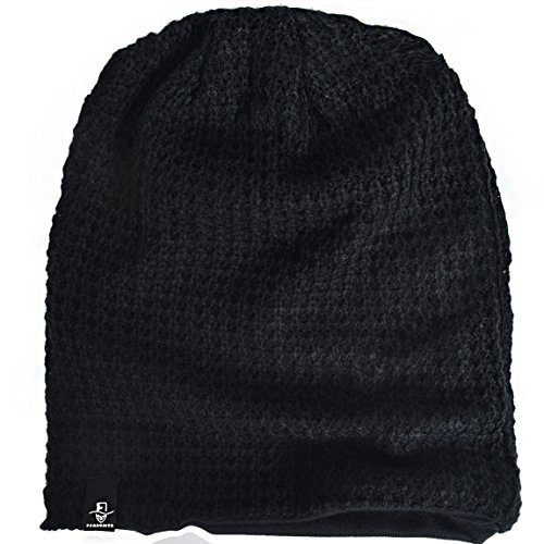 FORBUSITE Mens Slouchy Long Black Beanie Knit Cap For Summer Winter