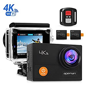 "APEMAN Action Camera 4K Wi-Fi waterproof Underwater Camera Ultra Full HD Sport Cam 30M Diving with 2"" LCD 170°Wide-angle/2.4G Remote Control/2 Rechargeable Batteries/20 Accessories Kits"