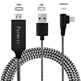 Parmeic Compatible with iPhone iPad to HDMI Adapter Cable - 6.6ft Digital AV Adapter Cord Support 1080P HDTV Compatible with iPhone Xs MAX XR X 8 7 6 6s Plus iPad to TV Projector Monitor