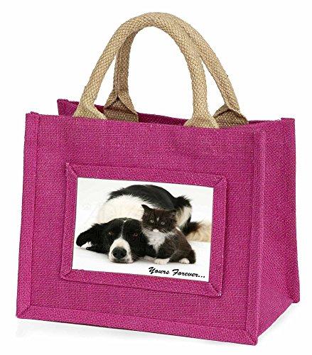 Advanta–Mini Pink Jute Tasche Border Collie und Kitten Yours Forever Little Mädchen klein Einkaufstasche Weihnachten Geschenk, Jute, pink, 25,5x 21x 2cm