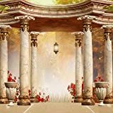 Vintage Pillar Pavilion Garden Photography Backdrops Brick Floor Red Flowers Fall Scenic Beautiful Wedding Backgrounds for Photo Studio 712