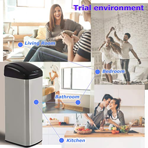 BestOffice Kitchen Trash Can Garbage Stainless Steel for Home Office Bathroom with Lid Touch Free Automatic Waste Bin 13 Gallon / 50L, 1 Pack, SS by BestOffice (Image #5)