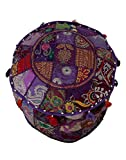 RAJRANG Indian Traditional Purple Ottoman Pouf Cover Purple Decorative Foot Stool Covers Handmade Cotton Bohemian Pouf Ottomans Round Comfortable PatchWork Floor Cushion By For Sale