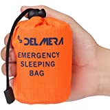 Delmera Emergency Survival Sleeping Bag, Lightweight Waterproof Thermal Emergency Blanket, Bivy Sack with Portable Drawstring Bag for Outdoor Adventure, Camping, Hiking