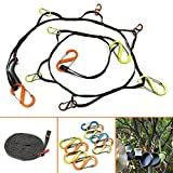 WaHe Camping Rope Outdoor Camping Lanyard Storage Lanyard Hooked Outdoor Camping Lanyard Polypropylene Webbing Rope Lanyard and 10PCS D-ring Hooks Sturdy and Durable Lightweight