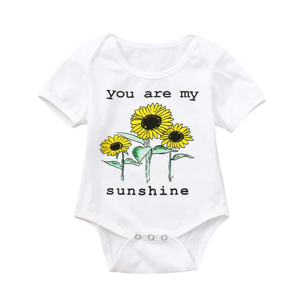 e233ea0b6b3b Amazon.com  Newborn Girls Romper Clothes Kids Girl Summer Sunflower Short  Sleeve Bodysuit Outfits  Clothing