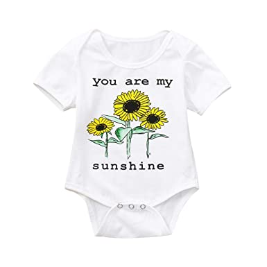 2d9761a3377 Amazon.com  Kaicran Newborn Baby Girls Boys Romper Short Sleeve Sunflower  Printed Jumpsuit Bodysuit Outfit-You are My Sunshine  Clothing