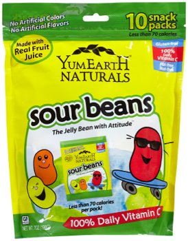 YumEarth Naturals Sour Jelly Beans 10 Snack Packs, 20 g Each