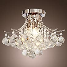 LOCOÂ Chrome Finish Crystal Chandelier with 3 lights, Mini Style Flush Mount Ceiling Light Fixture for Study Room/Office, Dining Room, Bedroom, Living Room