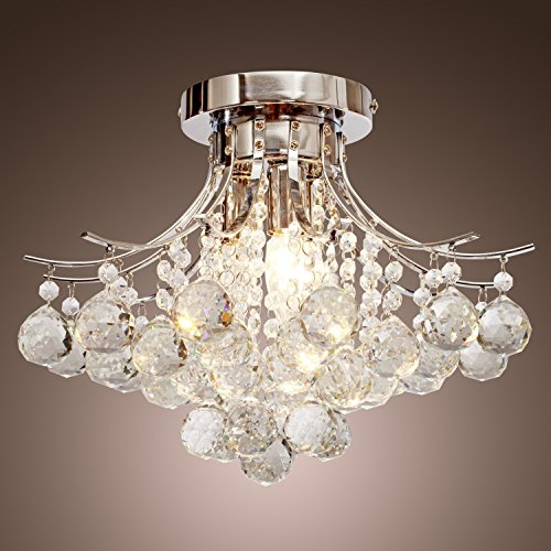 Pearl Bronze Foyer Pendant (Saint Mossi Chandelier Modern K9 Crystal Raindrop Chandelier Lighting Flush mount LED Ceiling Light Fixture for Dining Room Bathroom Bedroom Livingroom Pendant Lamp 11