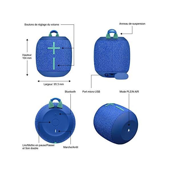 ULTIMATE EARS WONDERBOOM 2, Enceinte Portable Bluetooth Sans Fil, Son à 360 Degrés avec Basses Puissantes, Étanche / Anti-Poussière IP67, Capacité à Flotter, Portée de 30 Mètres - Bermuda Blue 6