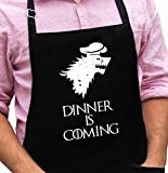 Dinner is Coming Apron - Game of Thrones Inspired Funny Apron - 1 Size Fits All Chef Quality Poly/Cotton with Adjustable Neck and Extra Long Waist Ties