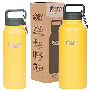 Healthy Human 32 oz Water Bottle - Cold 24 Hrs, Hot 12 Hrs. 4 Sizes & 12 Colors. Double Walled Vacuum Insulated Stainless Steel Thermos Flask with Carabiner & Hydro Guide. Color: Limoncello