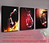 Nuolanart- Canvas Wall Art 3 Panels Framed Wine Canvas Prints for Home Decoration- P3S4060x3-1 offers
