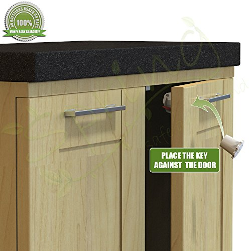 Spring Safe and Sound 4 Magnetic Locks Plus 1 Magnetic Key Premium Cabinet Locks for Child & Baby Proofing Your Home
