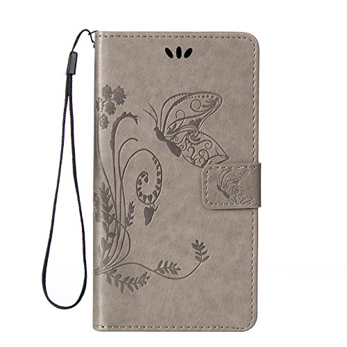Berry Accessory(TM) 3D Fashion Wallet PU Leather with Beauty Printing Flowers Butterfly [Card Holders] Flip Cover with Hand Strap for Samsung Galaxy S6 Edge (Firm Shock)