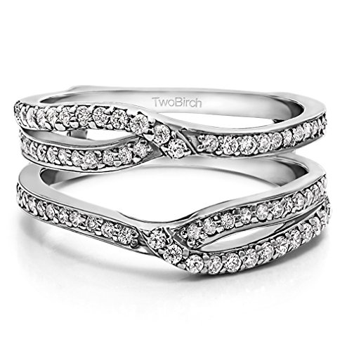 TwoBirch Sterling Silver Infinity Wedding Ring Guard Enhancer Cubic Zirconia (0.39 ct. tw.) by TwoBirch