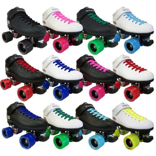 Riedell R3 Demon Speed Roller Skates - Black with royal blue wheels - Boys/Girls 3
