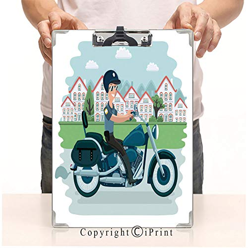 Document Paperboard Profile Clip,Print Clipboards,A4 Standard,Office Folders,Cool Police Officer Character Sitting on Motorcycle Vector Flat Cartoon ()