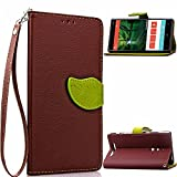 MOONCASE Lumia 830 Case [Leaves Magnetic] Premium PU Leather Case for Nokia Lumia 830 Wallet Pouch Flip Bracket TPU Cover Brown
