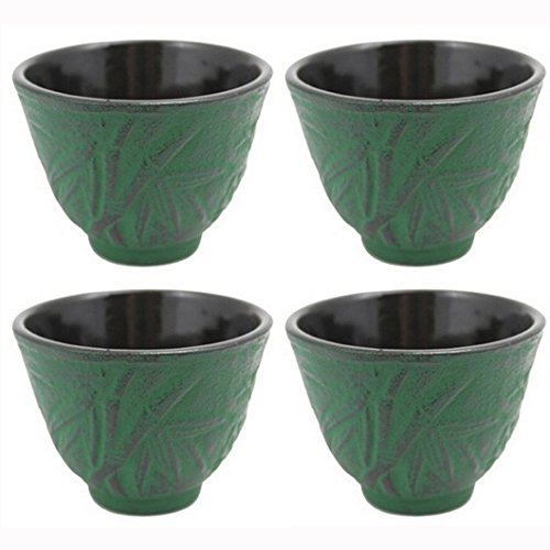 (JapanBargain S-2129x4 Cast Iron Teacups, Green Bamboo, Set Of 4 )