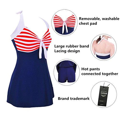 Style Amincissant Rouge Rayures Bikini Alicecoco Bain De Beachwear Tankini Rembourré Grande Robe Up Maillot Femme Taille Push xqS0z