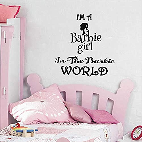 Peel and Stick Mural I'm Barbie Girl in The Barbie World Girls Room Wall Decals Decor Vinyl Sticker SK17316