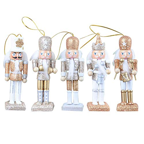 Christmas Nutcracker Ornaments,12CM 5 Pieces Set Glitter Classic Nutcracker Puppet Pendant