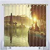 Amsome Unique Custom Shower Curtains Landscape Pura Ulun Danu Temple Bali Indonesia Asian River Traditional Religious Landmark Yellow Gree Polyester Fabric Shower Curtain For Bathroom, 78 Inches Long