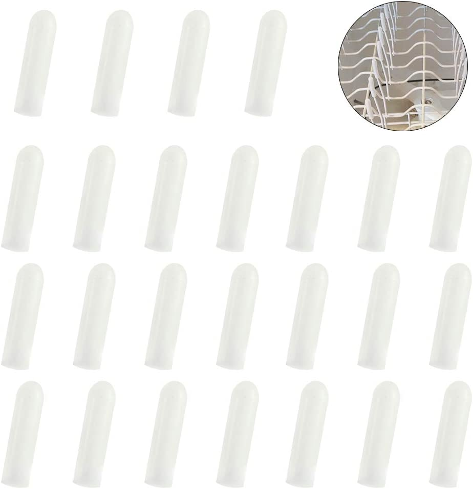 ManYee 60pcs Universal Dishwasher Prong Rack Caps Tip Tine Cover 1.18 inch long Dishwasher Rack Rust Repair Silicone Caps White 0.16 inch in Inner Diameter
