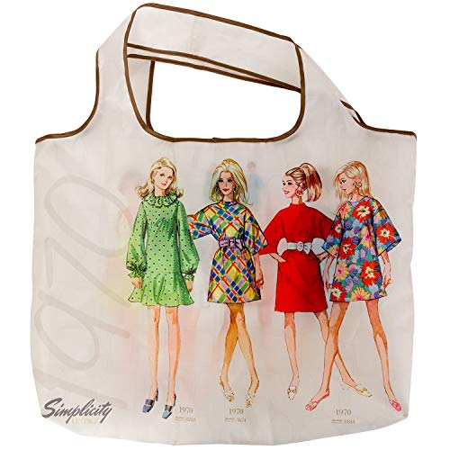 Simplicity Fashion - Simplicity Vintage Vintage 1970's Fashion Fold Up Shopping Tote Bag, 3.9'' W x 17.25'' L x 17.75'' H,