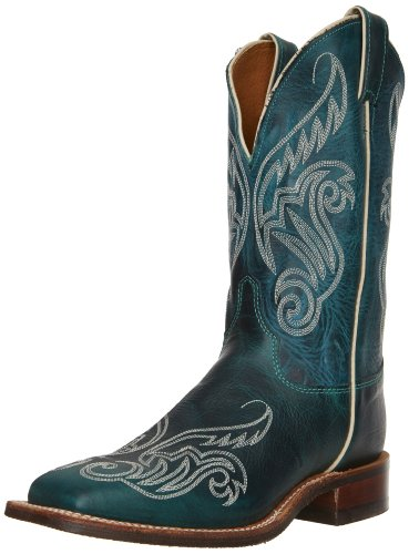"UPC 731871110658, Justin Boots Women's U.S.A. Bent Rail Collection 11"" Boot Wide Square Double Stitch Toe Performance Rubber Outsole,Turquoise Damiana,9 B US"