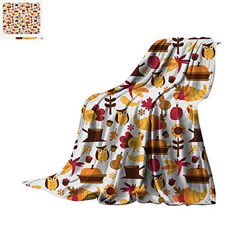 Harvest Digital Printing Blanket Cute Cartoon Fall Composition Nuts Maple Leaves Owls Roosters Pumpkins Oversized Travel Throw Cover Blanket 50