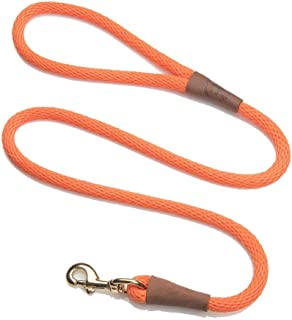 product image for Mendota Pet Snap Leash - British-Style Braided Dog Lead, Made in The USA - Orange, 1/2 in x 6 ft - for Large Breeds