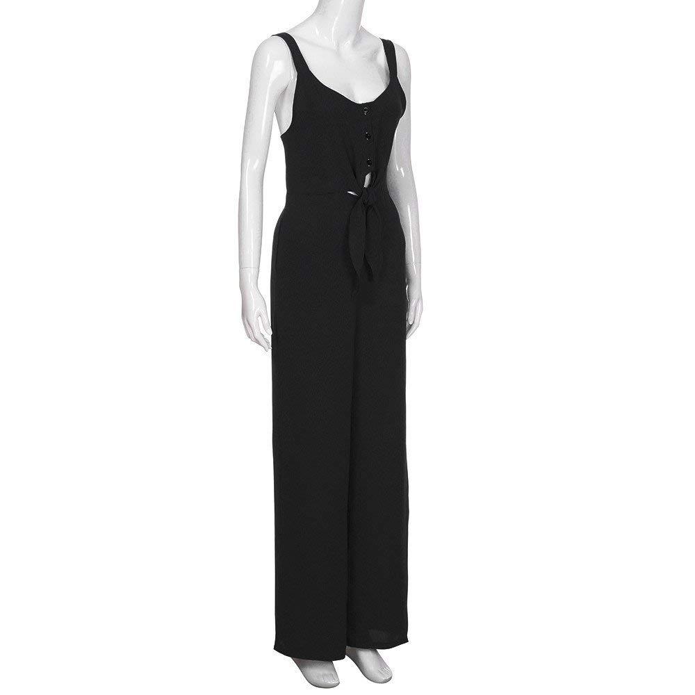 GWshop Fashion Jumpsuit Women Jumpsuits Elegant Wide Leg Summer Sexy Bow Backless Off Shoulder V Neck Rompers Black XL by GWshop (Image #3)