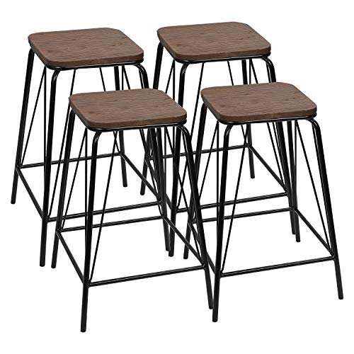 Furmax Black Metal Bar Stools with Wood Top High Backless Stools Indoor-Outdoor Stackable Stools(Set of 4)
